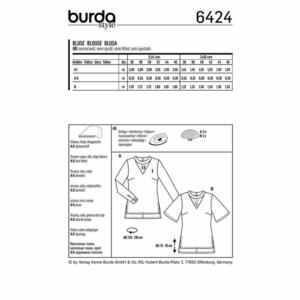 Burda Schnittmuster 6424 Damen Blusen
