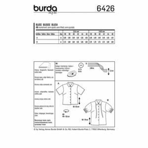 Burda Schnittmuster 6426 Damen Hemdblusen