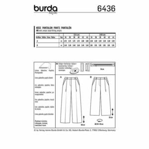 Burda Schnittmuster 6436 Damen Bundfalten Hosen