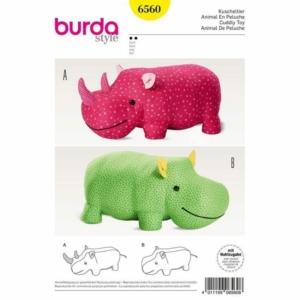 Burda Schnittmuster 6560 Kuscheltier Nashorn Nilpferd