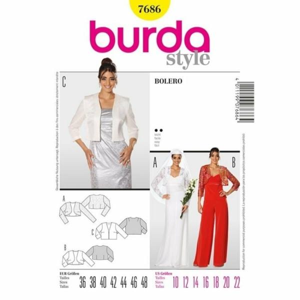 Burda Schnittmuster 7686 Damen Bolero und Kurzjacke