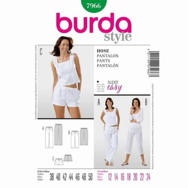 Burda Schnittmuster 7966 Damen Hose in verschiedenen Längen