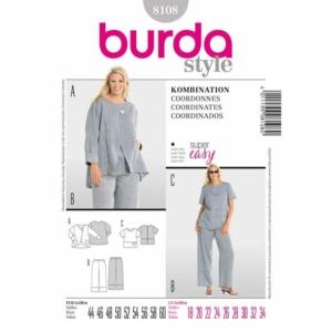 Burda Schnittmuster 8107 Damen Kombination Hose und Shirt Übergröße