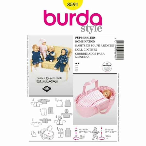 Burda Schnittmuster 8591 Puppenkleider Kombination