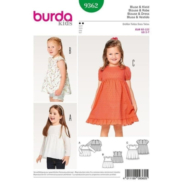 Burda Schnittmuster 9362 Kinder Bluse und Kleid und Hängerchen und eingereihter Rock und Saumrüsche