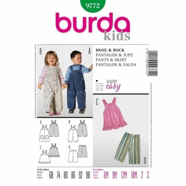 Burda Schnittmuster 9772 Baby Hose und Rock