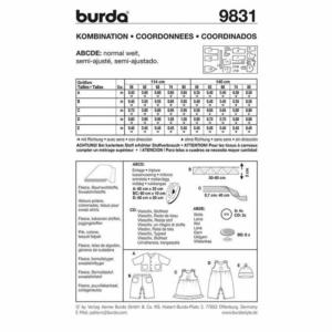 Burda Schnittmuster 9831 Baby Kombination