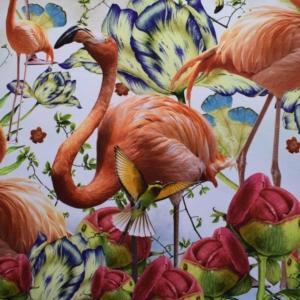 Baumwoll Jersey mit 3D Flamingo`s Rapport