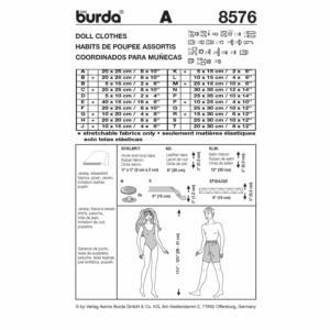 Burda Schnittmuster 8576 Puppenkleider Kombination