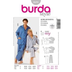 Burda Schnittmuster 2691 Schlafanzug für Damen und Herren