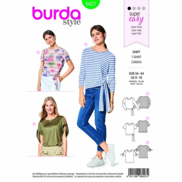 Burda Schnittmuster 6427 Damen Knoten-Shirts