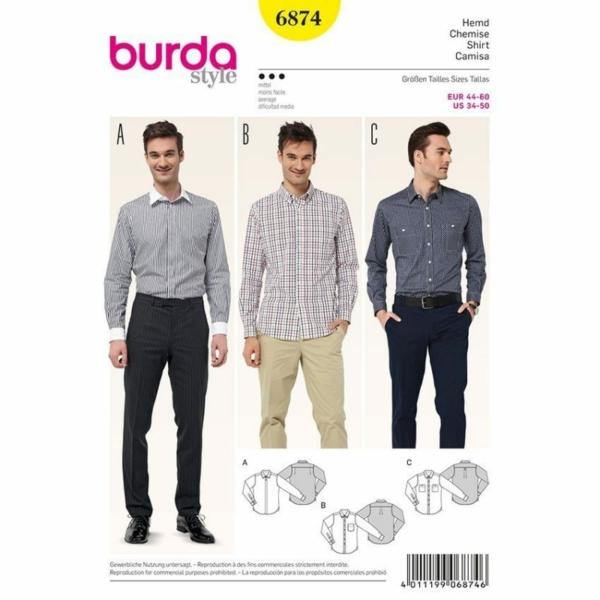 Burda Schnittmuster 6874 Herrenhemd und verschiedene Kragen