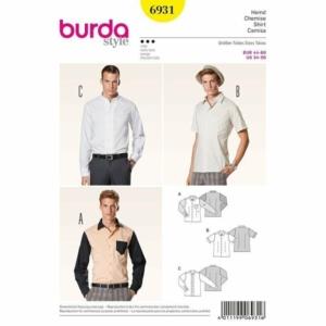 Burda Schnittmuster 6931 Herrenhemd und Biesen