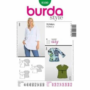 Burda Schnittmuster 8100 Damen Tunika in Übergrößen