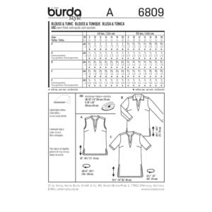 Burda Schnittmuster 6809 Damen Bluse und Tunika mit Blenden