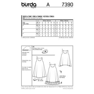 Burda Schnittmuster 7390 Damen Sommer Tunika und Trägerkleid