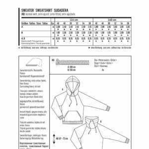 Burda Schnittmuster 6718 Herrensweater und Hoody mit Kragen Kordeldurchzug und Raglan-Ärmel