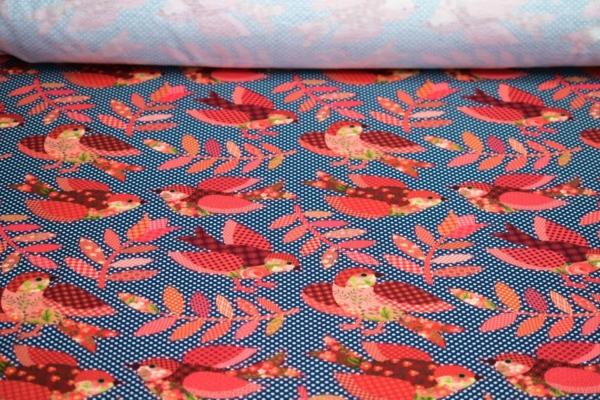 Baumwoll Jersey mit Vögel
