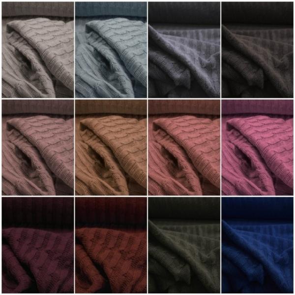 Strickstoff Wolle mit Zopfmuster alle Farben