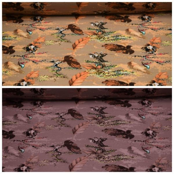 Baumwoll Jersey mit Vögeln und Blättern