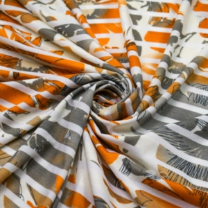 Viskose Jersey Stoff mit Blumen und Streifen