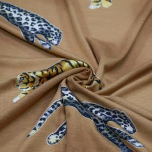Viskose Jersey Stoff mit Leopard und Tiger