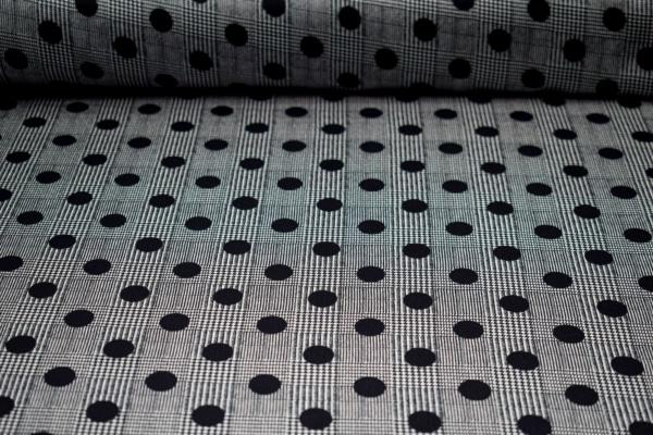 Polyester Stoff mit karo`s und Punkten